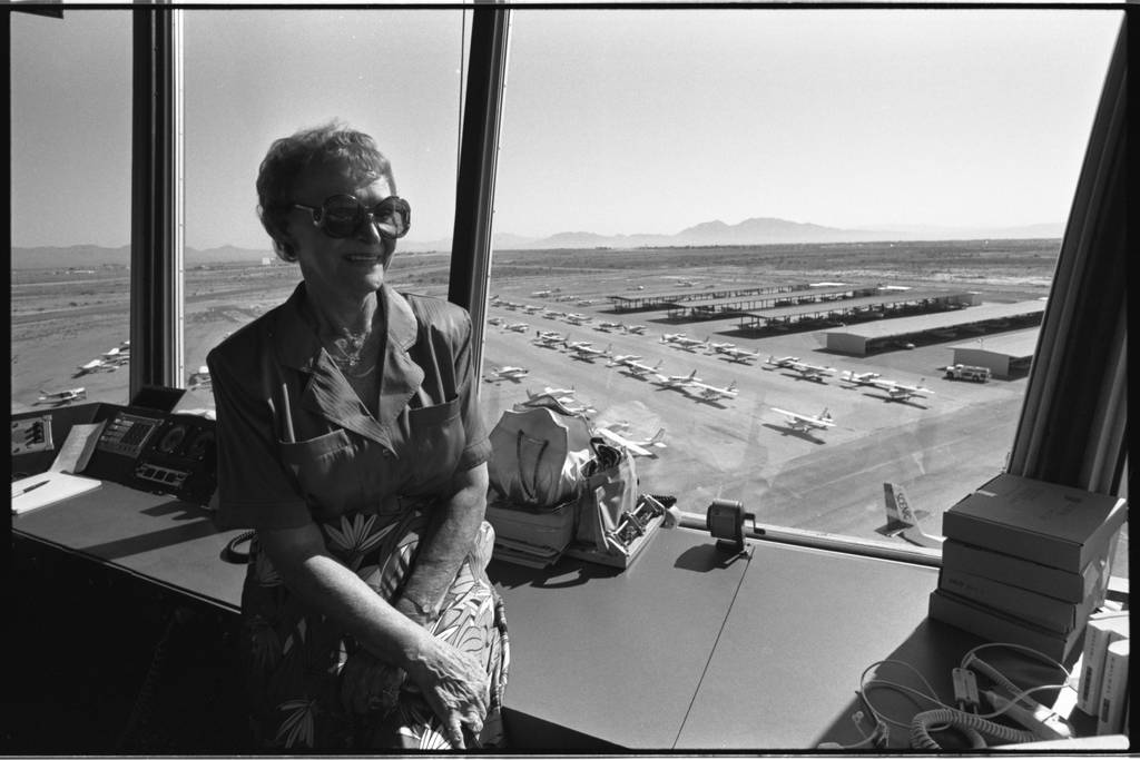 Co-founder of the North Las Vegas Airport Florence Murphy in the control tower. (Las Vegas Review-Journal file)
