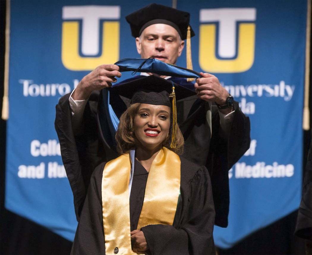 Niyat Teweldebrhan, a 28-year-old Eritrean refugee who survived war in her home country, receives her Masters of Science in medical health sciences from the College of Osteopathic Medici ...