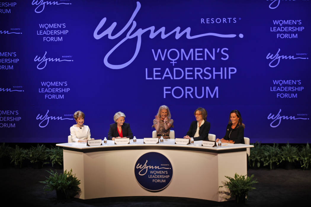 Betsy Atkins, from left, Pat Mulroy, Kim Sinatra, Dee Dee Myers, and Wendy Webb speak at a women's leadership forum at the Wynn hotel-casino in Las Vegas, Monday, May 14, 2018. Wynn General Counse ...