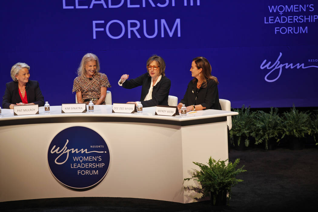 Dee Dee Myers speaks as Pat Mulroy, from left, Kim Sinatra, and Wendy Webb listen at a women's leadership forum at the Wynn hotel-casino in Las Vegas, Monday, May 14, 2018. Wynn General Counsel Si ...
