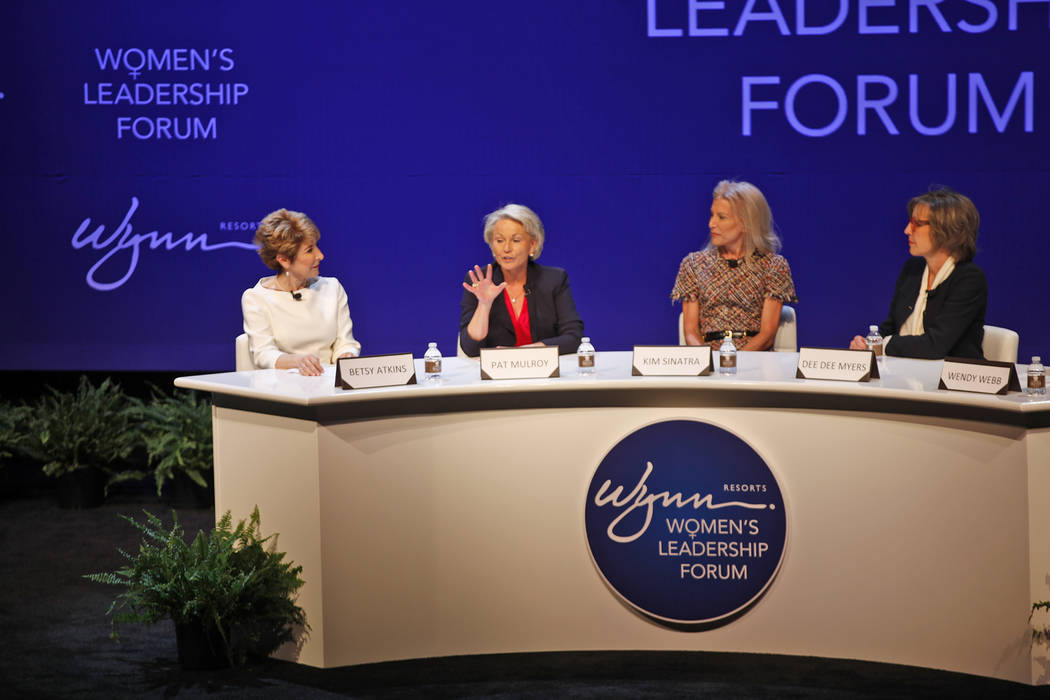 Pat Mulroy speaks about how she was treated different because she is female in her first days of working at the Southern Nevada Water Authority as Betsy Atkins, from left, Kim Sinatra and Dee Dee ...