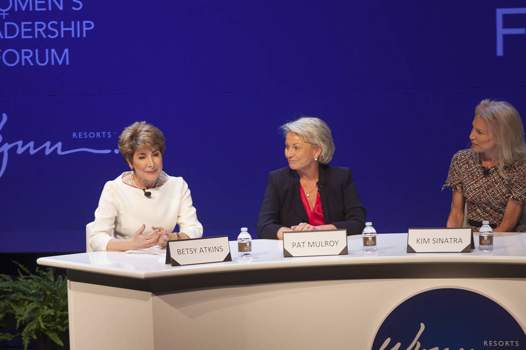 Betsy Atkins speaks as Pat Mulroy, from left, and Kim Sinatra listen at a women's leadership forum at the Wynn hotel-casino in Las Vegas, Monday, May 14, 2018. Wynn General Counsel Sinatra mediate ...