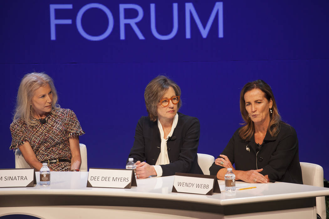 Wendy Webb speaks as Kim Sinatra, from left, and Dee Dee Myers listen at a women's leadership forum at the Wynn hotel-casino in Las Vegas, Monday, May 14, 2018. Wynn General Counsel Sinatra mediat ...