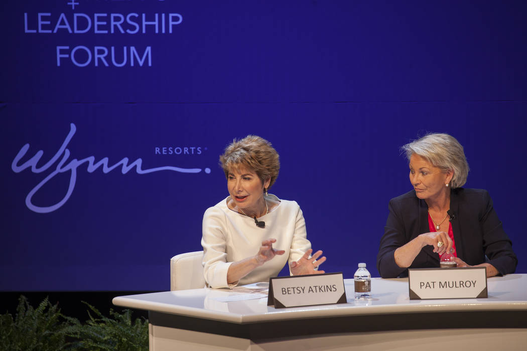 Betsy Atkins speaks as Pat Mulroy listens at a women's leadership forum at the Wynn hotel-casino in Las Vegas, Monday, May 14, 2018. Wynn General Counsel Sinatra mediated as the women, all board o ...