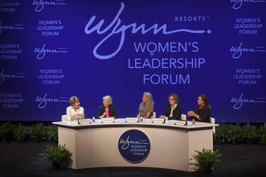 Betsy Atkins speaks at a women's leadership forum as Pat Mulroy, from left, Kim Sinatra, Dee Dee Myers, and Wendy Webb listen at the Wynn hotel-casino in Las Vegas, Monday, May 14, 2018. Wynn Gene ...