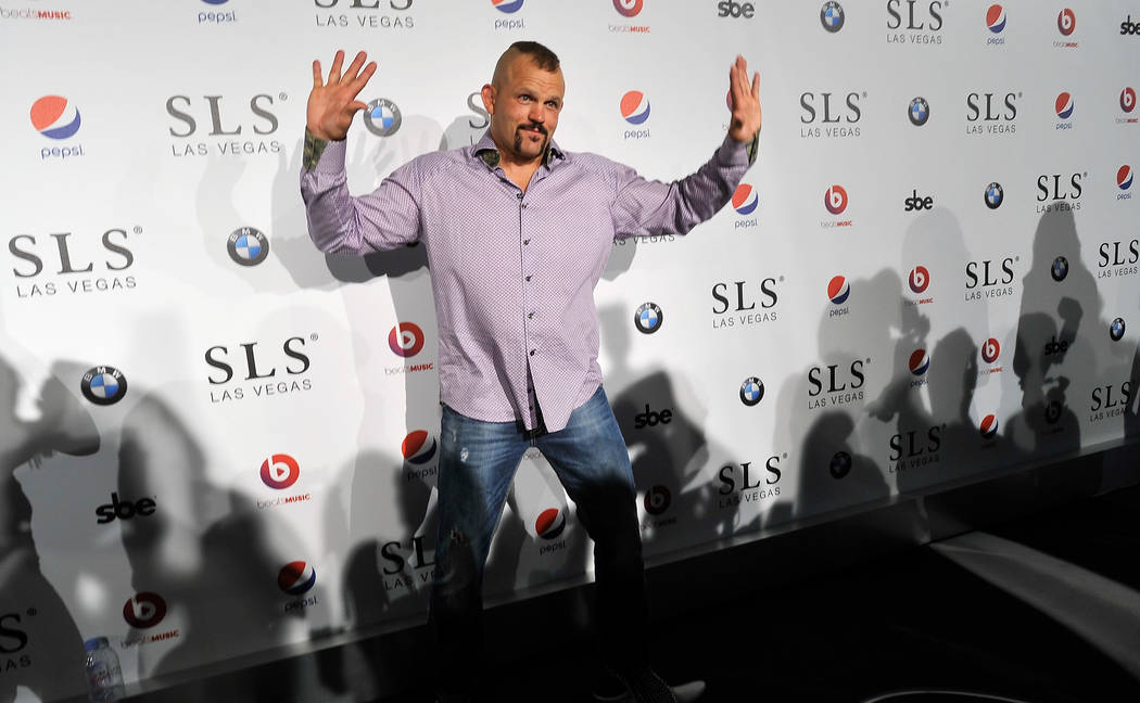 Former mixed martial artist Chuck Liddell arrives at the SLS Las Vegas for the grand opening celebration on Friday, Aug. 22, 2014. (David Becker/Las Vegas Review-Journal)