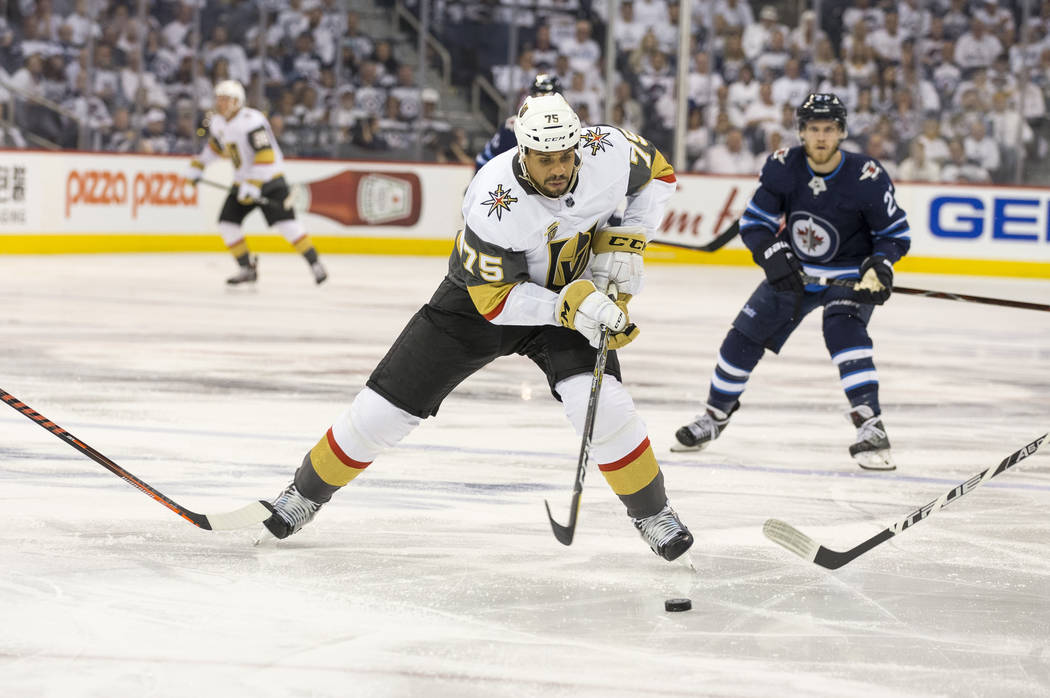 Vegas Golden Knights right wing Ryan Reaves (75) controls the puck against the Winnipeg Jets during the second period in Game 2 of an NHL hockey third round playoff series at the Bell MTS Place in ...
