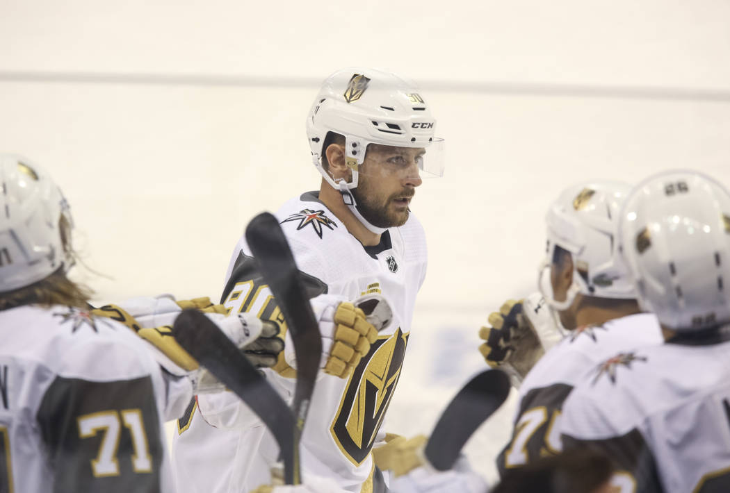 Vegas Golden Knights left wing Tomas Tatar (90) celebrates his first period goal against the Winnipeg Jets in Game 1 of an NHL hockey third round playoff series at the Bell MTS Place in Winnipeg, ...