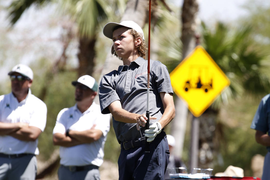 Coronado High's Brett Sodetz watches his tee drive during the 2018 NIAA 4A State boys golf tournament at Reflection Bay Golf Club on Monday, May 14, 2018, in Henderson. Bizuayehu Tesfaye/Las Vegas ...