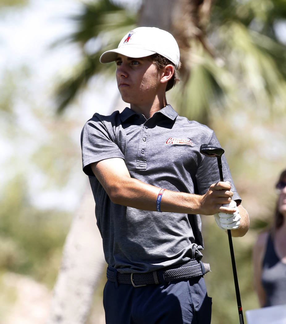 Coronado High's Joey Dotta watches his tee drive during the 2018 NIAA 4A State boys golf tournament at Reflection Bay Golf Club on Monday, May 14, 2018, in Henderson. Bizuayehu Tesfaye/Las Vegas R ...