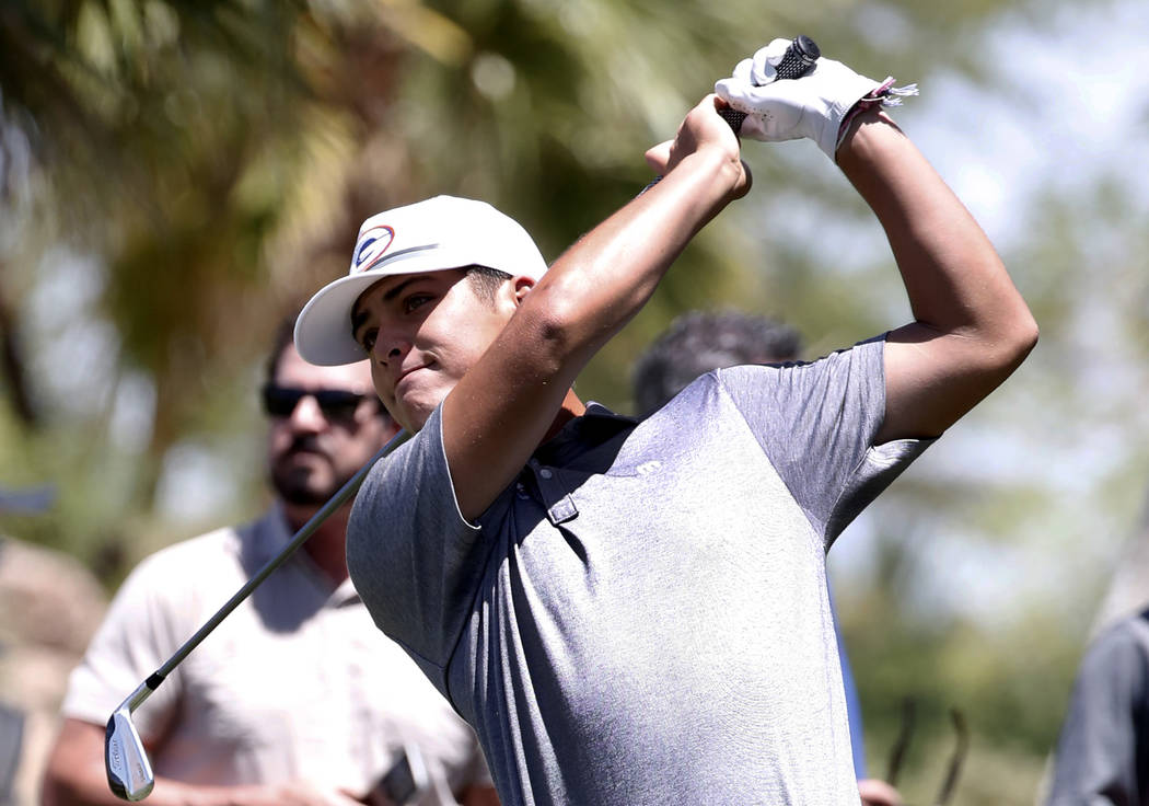 Bishop Gorman High's Skyler Ngo watches his tee drive during the 2018 NIAA 4A State boys golf tournament at Reflection Bay Golf Club on Monday, May 14, 2018, in Henderson. Bizuayehu Tesfaye/Las Ve ...