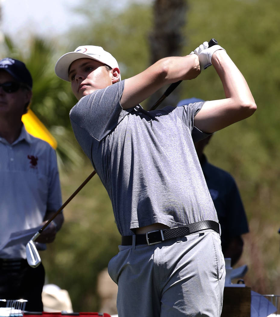 Bishop Gorman High's Mitchell Abbott watches his tee drive during the 2018 NIAA 4A State boys golf tournament at Reflection Bay Golf Club on Monday, May 14, 2018, in Henderson. Bizuayehu Tesfaye/L ...