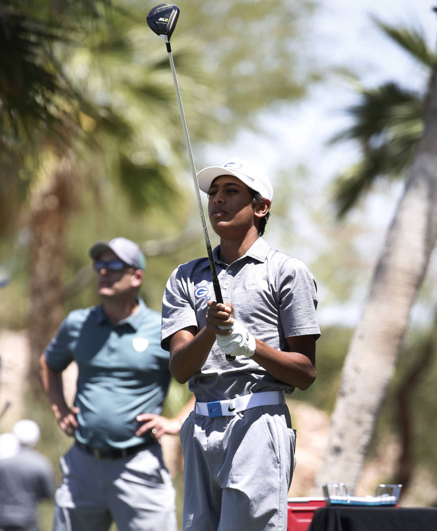 Bishop Gorman High's Aarjav Patel hits his tee drive during the 2018 NIAA 4A State boys golf tournament at Reflection Bay Golf Club on Monday, May 14, 2018, in Henderson. Bizuayehu Tesfaye/Las Veg ...