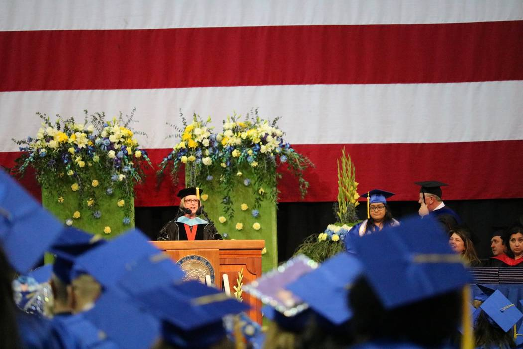 Acting President Dr. Margo L. Martin addresses the audience at the College of Southern Nevada's 46th commencement ceremony at Thomas & Mack Center in Las Vegas, Monday, May 14, 2018. The Class ...