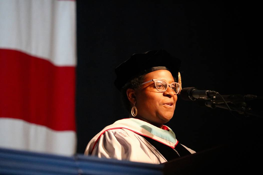 Nevada System of Higher Education Regent Allison Stephens addresses the audience at the College of Southern Nevada's 46th commencement ceremony at Thomas & Mack Center in Las Vegas, Monday, Ma ...