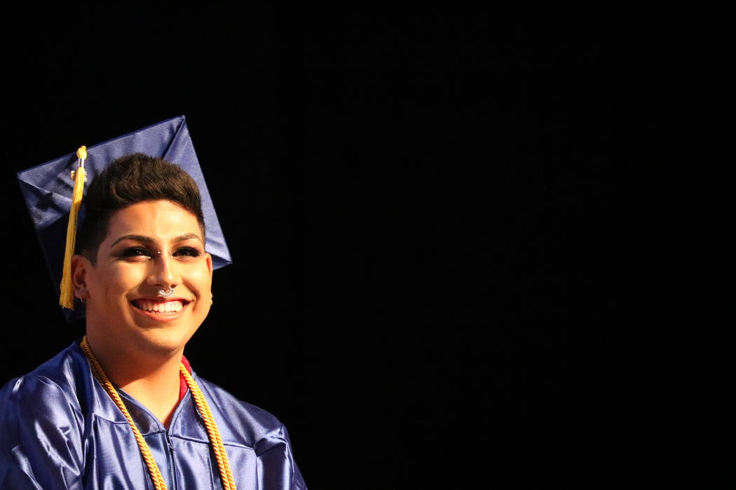 The College of Southern Nevada's student commencement speaker Bryan Rodriguez-Clavel at the College of Southern Nevada's 46th commencement ceremony at Thomas & Mack Center in Las Vegas, Monday ...