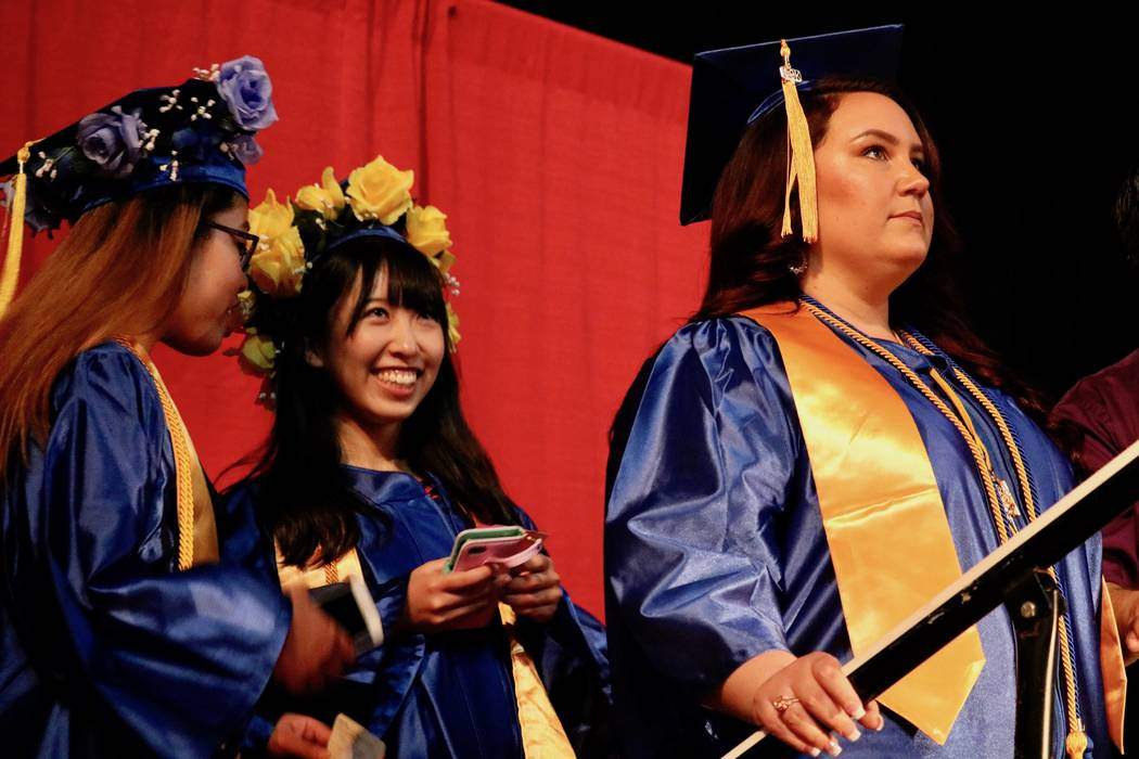 Students wait for their name to be called at the College of Southern Nevada's 46th commencement ceremony at Thomas & Mack Center in Las Vegas, Monday, May 14, 2018. The Class of 2018 was the s ...
