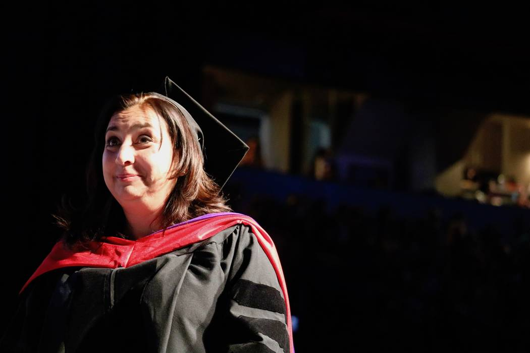 Interim Vice President of Academic Affairs Clarissa Cota presents degrees at the College of Southern Nevada's 46th commencement ceremony at Thomas & Mack Center in Las Vegas, Monday, May 14, 2 ...