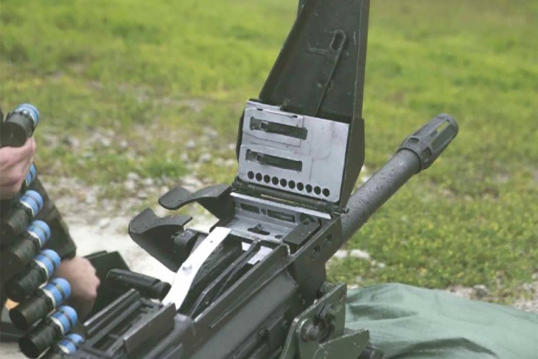 North Dakota authorities say an ammunition belt for a automatic grenade launcher, similar to the the Mk 19 automatic grenade launcher seen here, is missing. (Lance Cpl. Thomas A. Mcintosh/Marine C ...