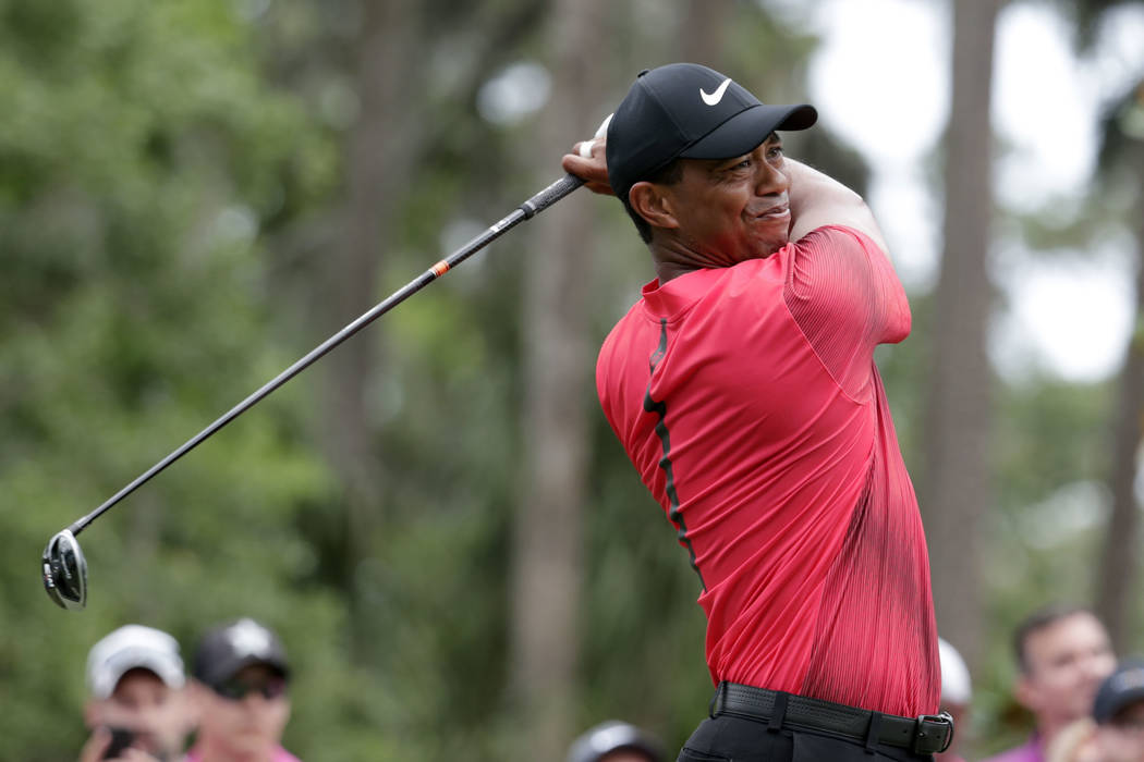 Tiger Woods hits from the second tee, during the final round of the Players Championship golf tournament, Sunday, May 13, 2018, in Ponte Vedra Beach, Fla. (AP Photo/Lynne Sladky)