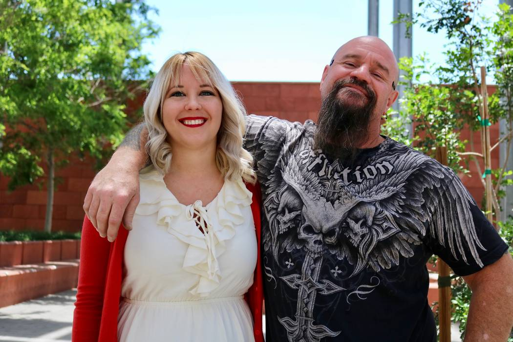 Breanna Boppre and father Scott Schlingheyde, in Las Vegas, Thursday, May 10, 2018. Boppre is the first doctoral graduate of UNLV's criminal justice program. Madelyn Reese/Las Vegas Review-Journal