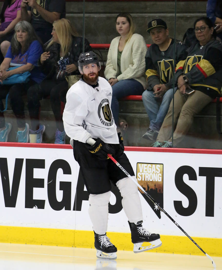 Golden Knights fan watch as forward James Neal skates during optional team practice at City National Arena on Tuesday, May 15, 2018, in Las Vegas. Bizuayehu Tesfaye/Las Vegas Review-Journal @bizut ...