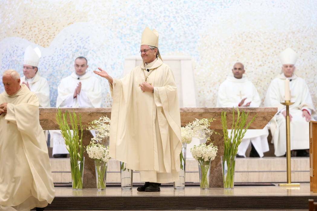 Bishop George Leo Thomas during his installation as the third Bishop of Las Vegas, at The Shrine of the Most Holy Redeemer in Las Vegas, Tuesday, May 15, 2018. Erik Verduzco Las Vegas Review-Journ ...