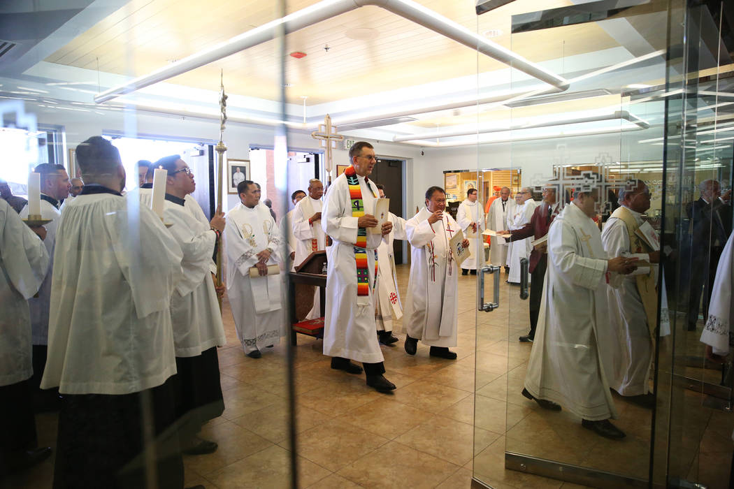 Clergy attend the installation of Rev. George Leo Thomas as the third Bishop of Las Vegas, at The Shrine of the Most Holy Redeemer in Las Vegas, Tuesday, May 15, 2018. Erik Verduzco Las Vegas Revi ...