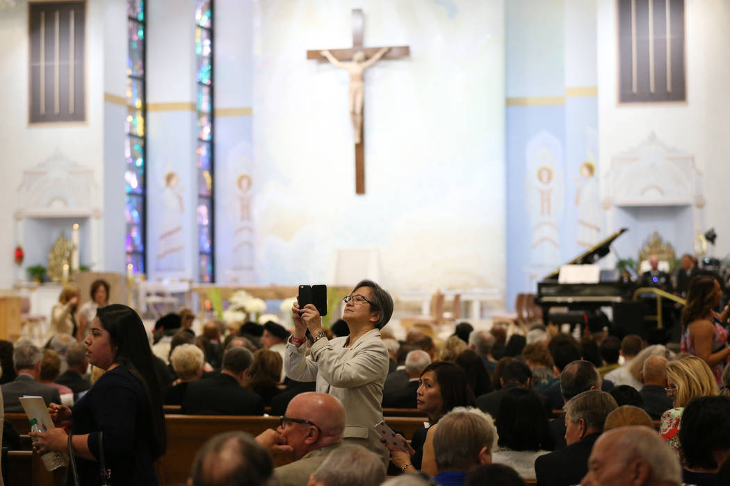 People attend the installation of Rev. George Leo Thomas as the third Bishop of Las Vegas, at The Shrine of the Most Holy Redeemer in Las Vegas, Tuesday, May 15, 2018. Erik Verduzco Las Vegas Revi ...