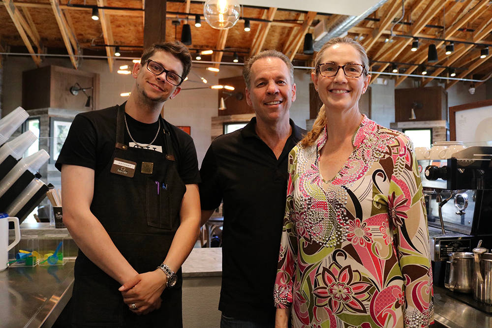 From left, Anthony, Brad and Deanna Richard opened Peet's Coffee, the national coffee retailer's first stand-alone cafe, in Summerlin this year. (Madelyn Reese/Las Vegas Review-Journal)