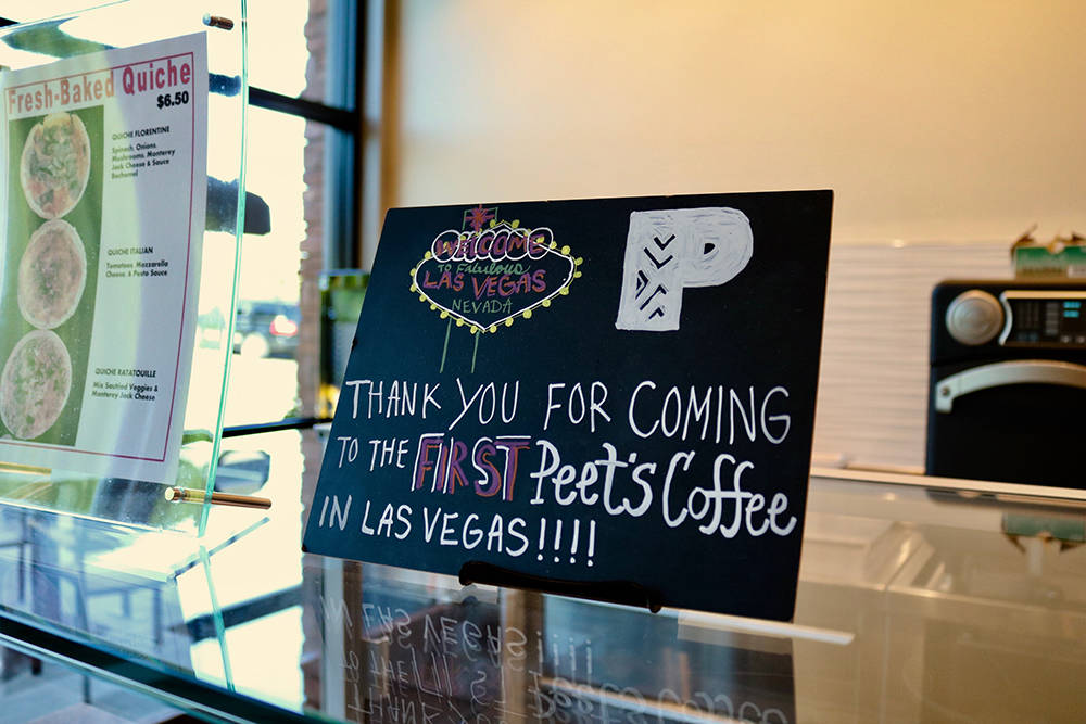 A hand-decorated sign lets customers know they are at the first Peet's Coffee in Las Vegas. The Riccardi family plans to open two Peet's locations every year for the next several years. (Madelyn R ...