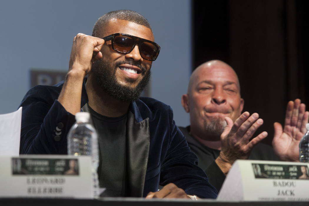 Challenger Badou Jack gestures during boxing press conference at the Rec Room in Toronto, Thursday, May 17, 2018. Jack is scheduled to fight Adonis Stevenson for Stevenson's WBC light heavyweight ...