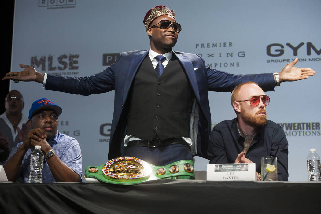 WBC light heavyweight title holder Adonis Stevenson gestures during boxing press conference at the Rec Room in Toronto, Thursday, May 17, 2018. Stevenson is slated to defend his title against Bado ...