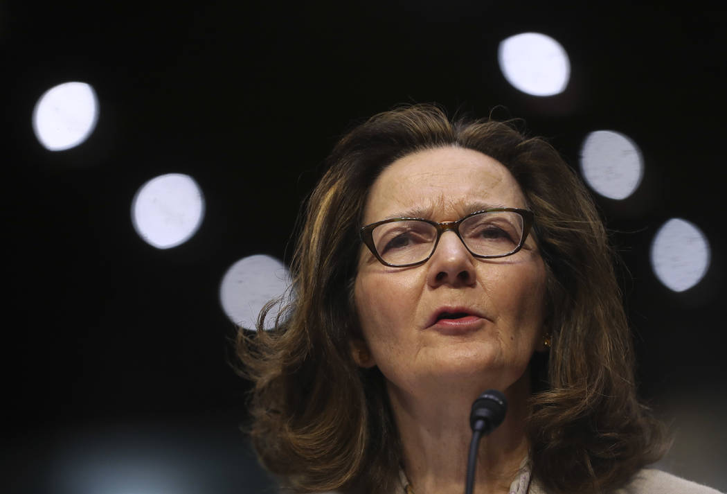 CIA nominee Gina Haspel testifies during a confirmation hearing of the Senate Intelligence Committee, on Capitol Hill in Washington, May 9, 2018. In a letter Tuesday to the top Democrat on the Sen ...