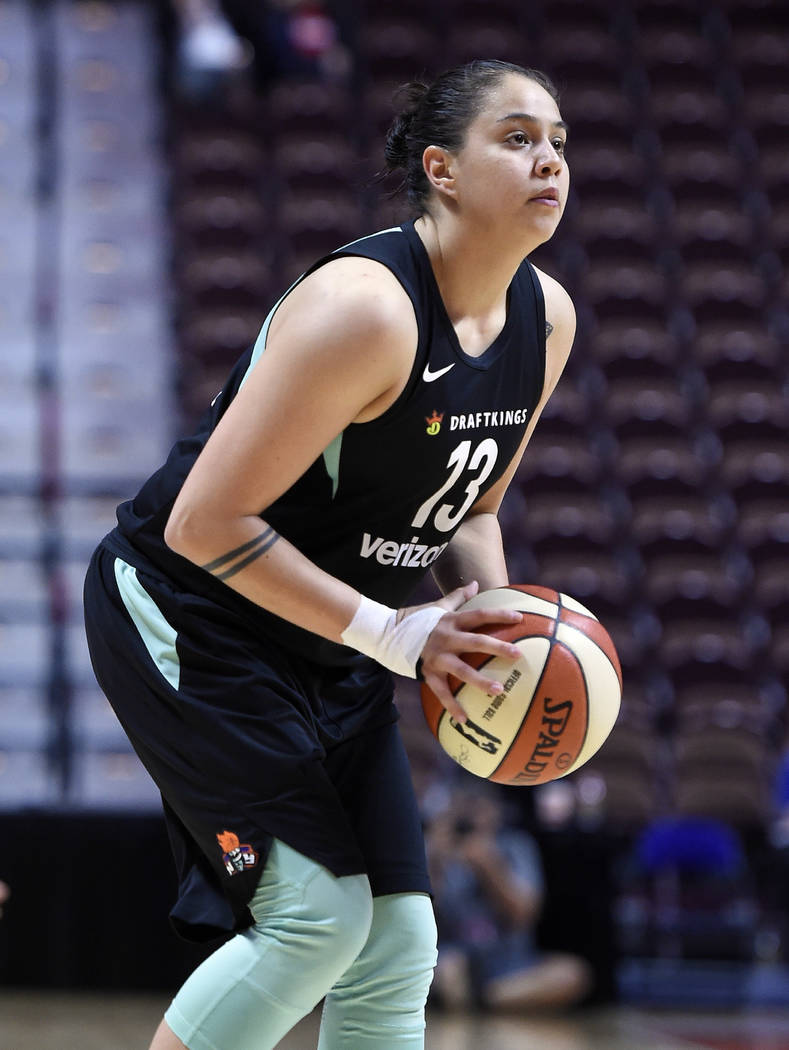 New York Liberty's Shoni Schimmel during a preseason WNBA basketball game, Wednesday, May 8, 2018, in Uncasville, Conn. (AP Photo/Jessica Hill)