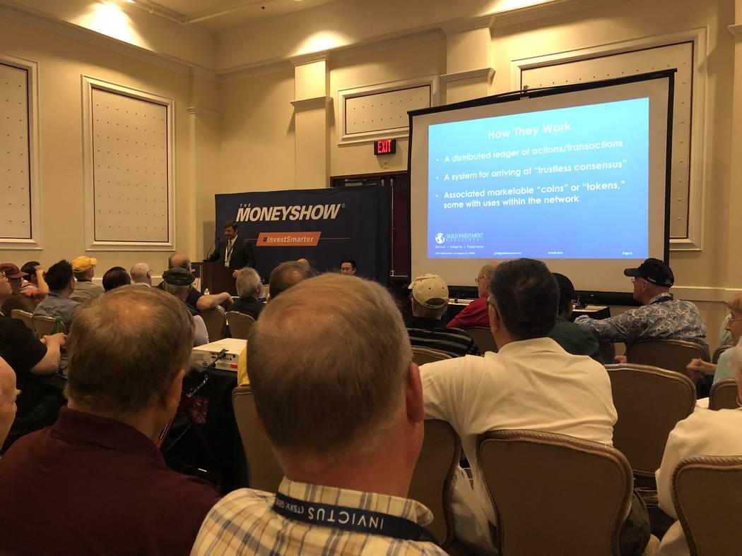 A packed crowd listens to a presentation about cryptocurrencies on Monday, May 14, 2018, during the Money Show at Bally's. Todd Prince Las Vegas Review-Journal