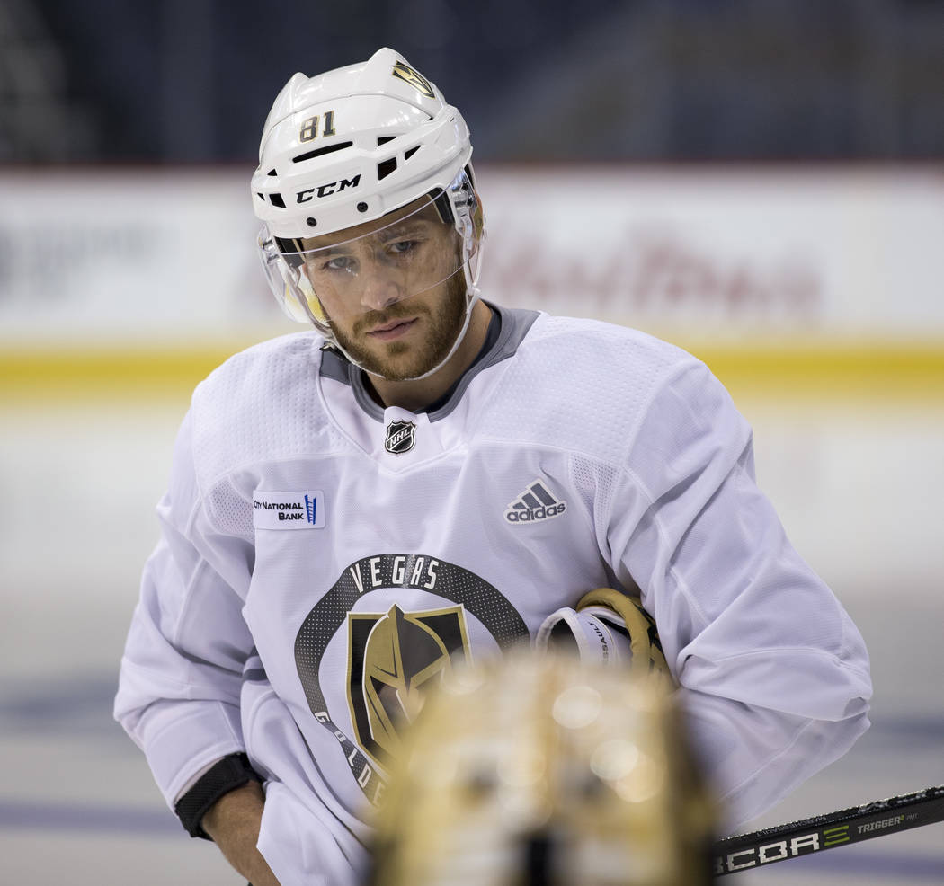 Vegas Golden Knights center Jonathan Marchessault (81) takes part in the morning skate ahead of Game 2 against the Winnipeg Jets at the Bell MTS Place in Winnipeg, Canada, on Monday, May 14, 2018. ...
