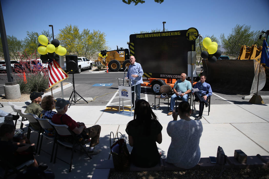 Clark County Commissioner Larry Brown speaks during the Lone Mountain Road Improvement Project start celebration at the Lone Mountain Regional Park in Las Vegas, Thursday, May 17, 2018. Erik Verdu ...