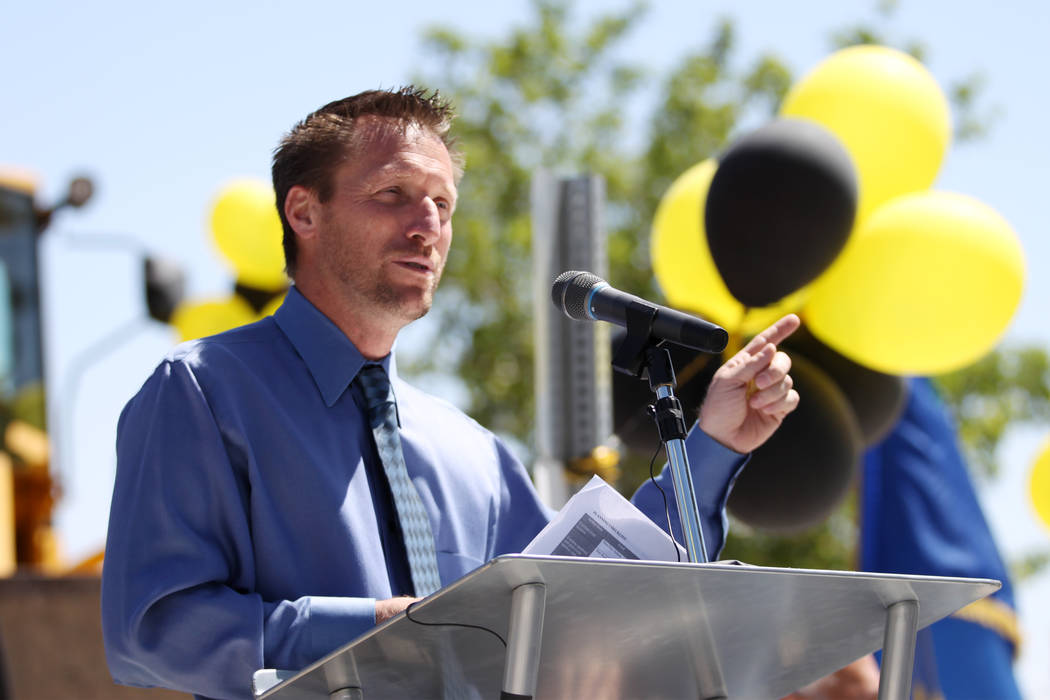 Leavitt Middle School Principal Keith Wipperman speaks during the Lone Mountain Road Improvement Project start celebration at the Lone Mountain Regional Park in Las Vegas, Thursday, May 17, 2018. ...