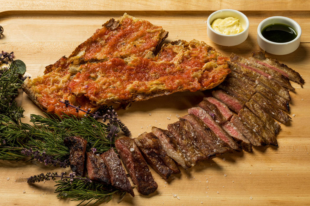 Secreto iberico bellota, skirt steak served with mojo verde and aioli. (Anthony Mair)