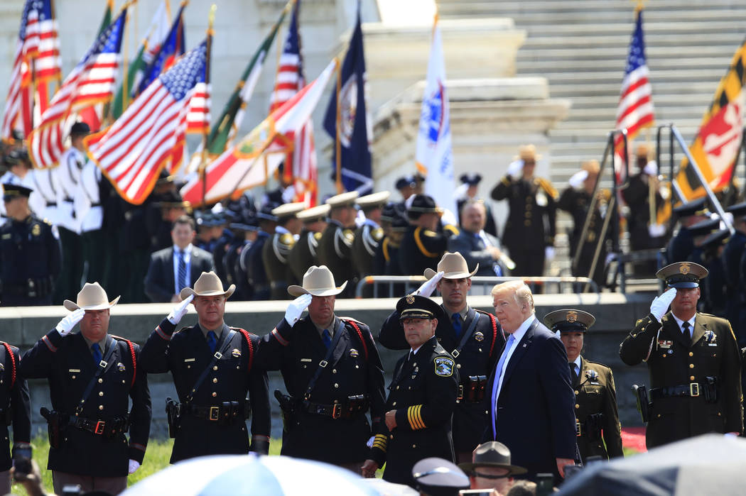 President Donald Trump arrives at the 37th Annual National Peace Officers' Memorial Service on Capitol Hill in Washington, Tuesday, May 15, 2018. (AP Photo/Manuel Balce Ceneta)