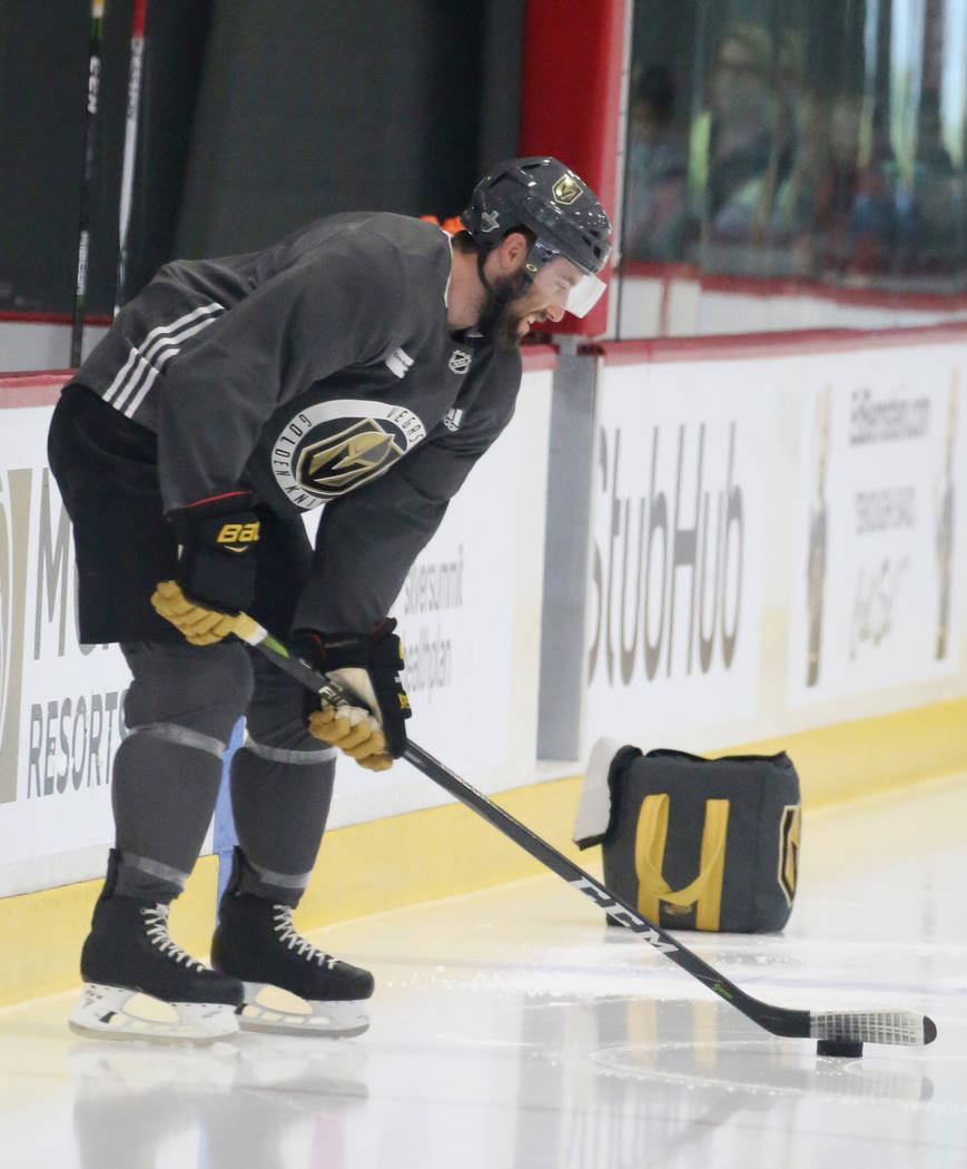 Golden Knights defenseman Brad Hunt prepare to hit the puck during optional team practice at City National Arena on Tuesday, May 15, 2018, in Las Vegas. Bizuayehu Tesfaye/Las Vegas Review-Journal ...
