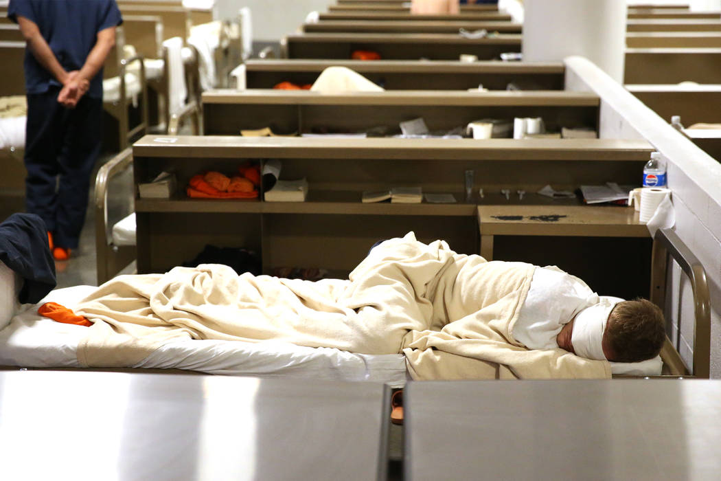An inmate sleeps at the Clark County Detention Center in Las Vegas during a tour on the Stepping Up Day of Action, Wednesday, May 16, 2018. Erik Verduzco Las Vegas Review-Journal @Erik_Verduzco