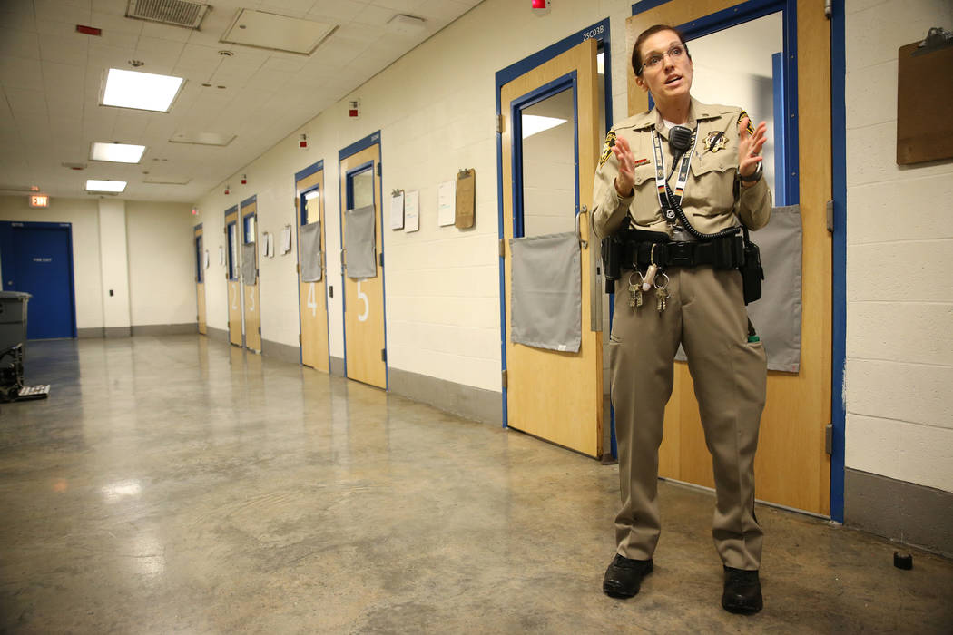 Las Vegas police Lt. Xan Weir gives a tour of the Clark County Detention Center in Las Vegas during the Stepping Up Initiative Day of Action, Wednesday, May 16, 2018. Erik Verduzco Las Vegas Revie ...