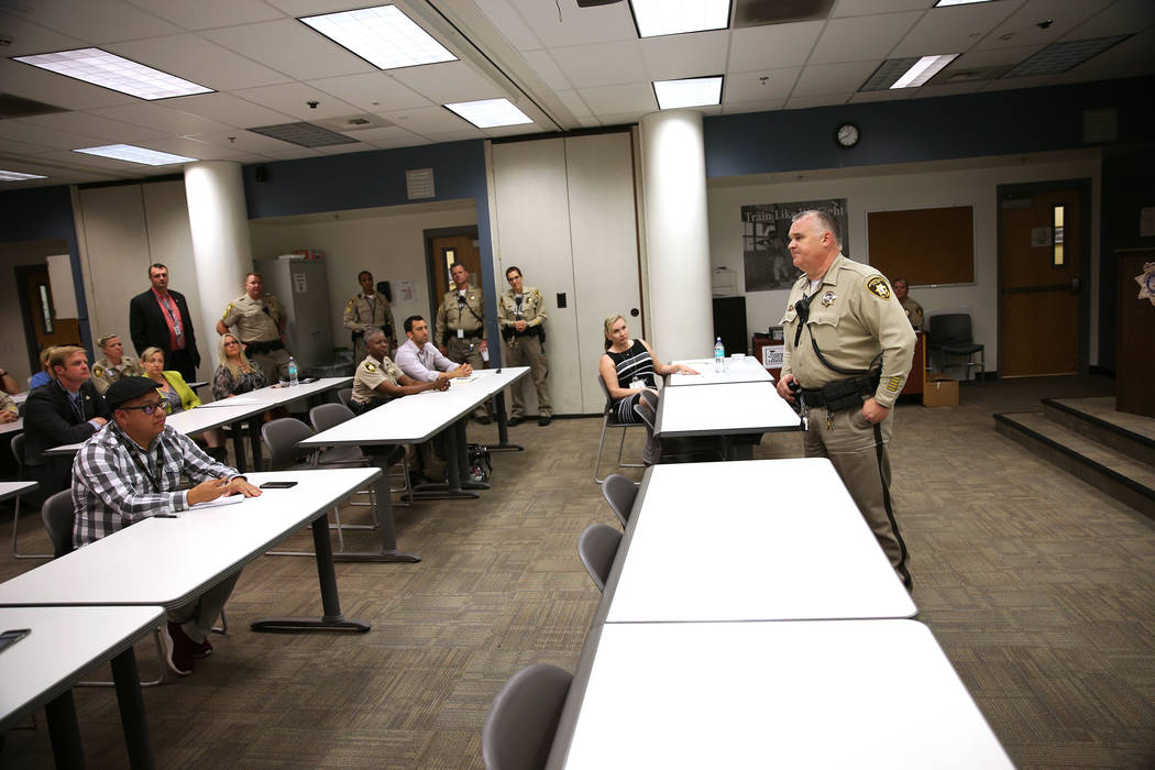 Las Vegas Police Deputy Chief Richard Forbus Jr. speaks during a presentation on the Stepping Up Initiative Day of Action at the Clark County Detention Center in Las Vegas, Wednesday, May 16, 2018 ...