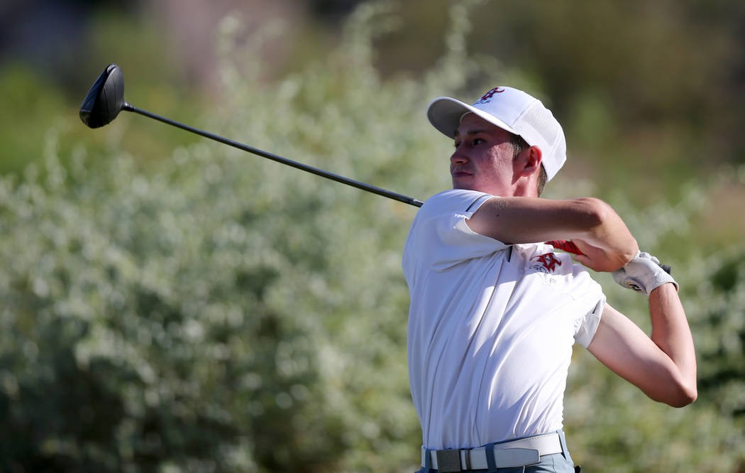 Arbor View's Cameron Gambini tees off on 15th hole at Reflection Bay Golf Club in Henderson during the Class 4A Nevada state championship Tuesday, May 15, 2018. K.M. Cannon Las Vegas Review-Journa ...