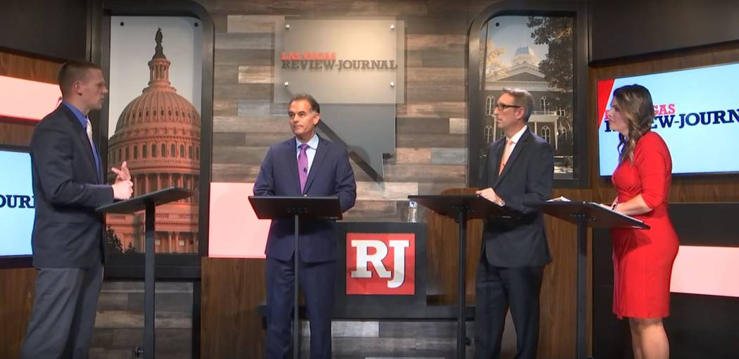 Republicans Danny Tarkanian, second left, Sen. Scott Hammond and Michelle Mortensen participate in a 3rd Congressional District debate on May 15, 2018, moderated by the Review-Journal's Victor Joe ...