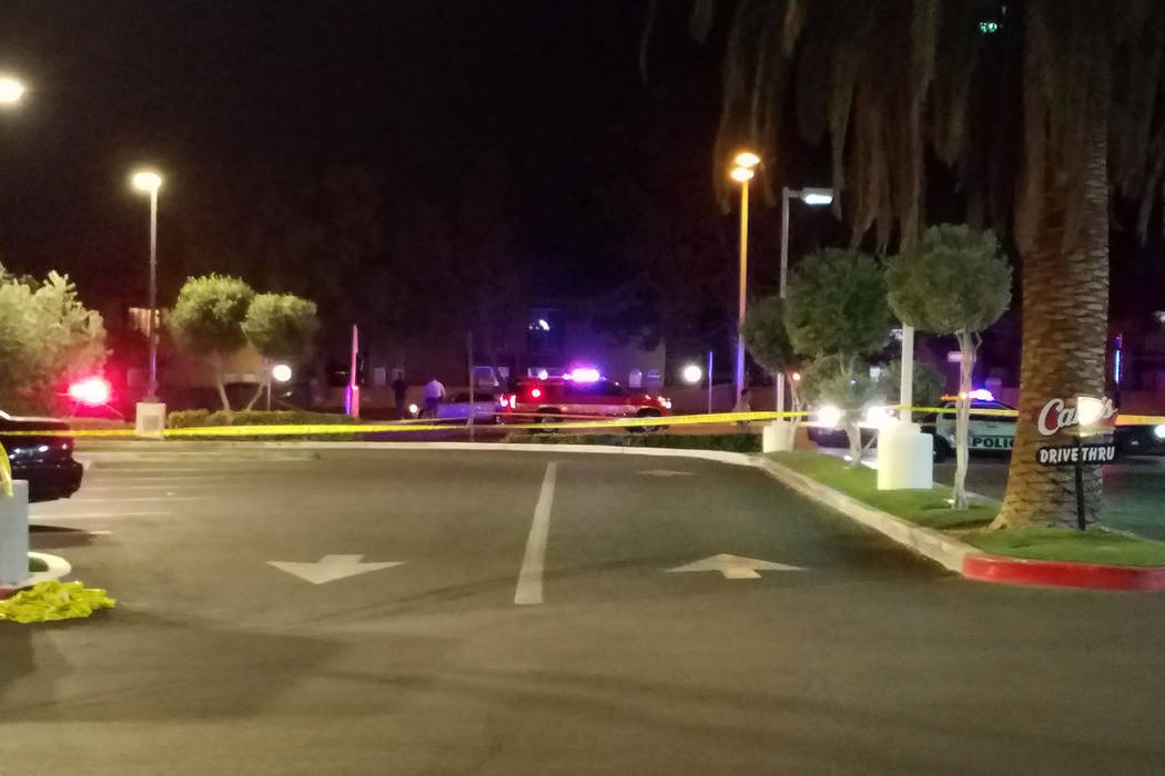 Las Vegas police investigate a fatal a crash near West Sahara Avenue and South Hualapai Way on Tuesday,May 15, 2018. (Mike Shoro/Las Vegas Review-Journal)