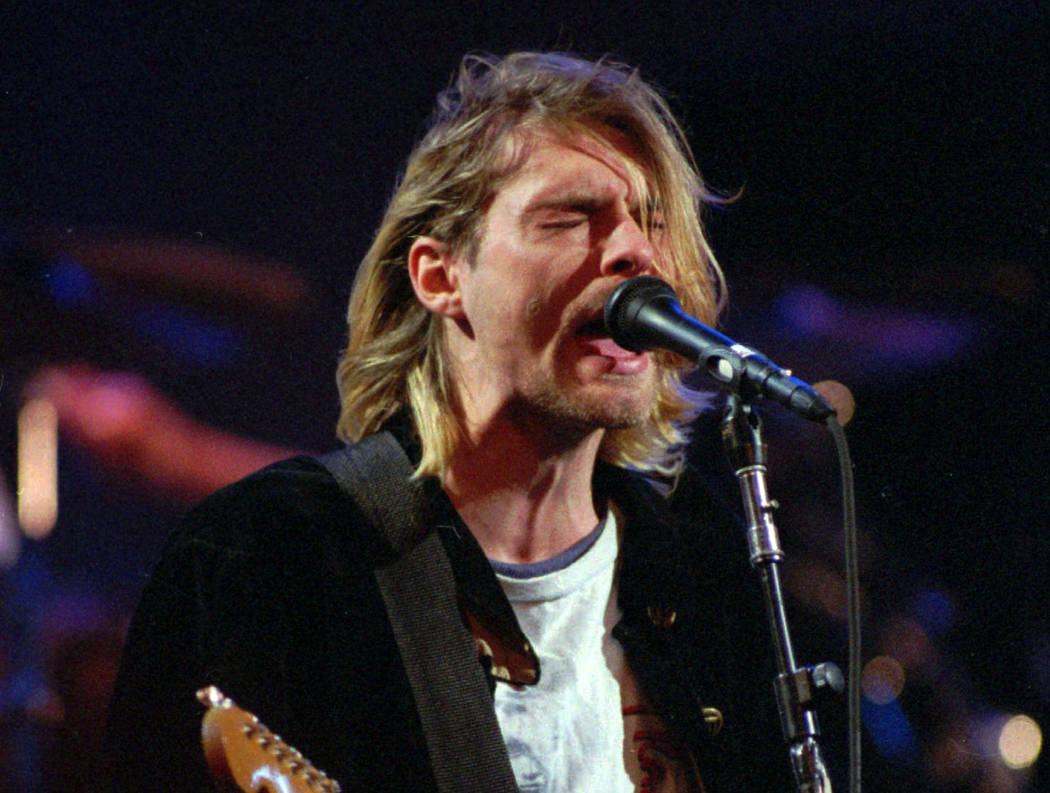 This Dec. 13, 1993 file photo shows Kurt Cobain of the band Nirvana performing in Seattle. (Robert Sorbo/AP)