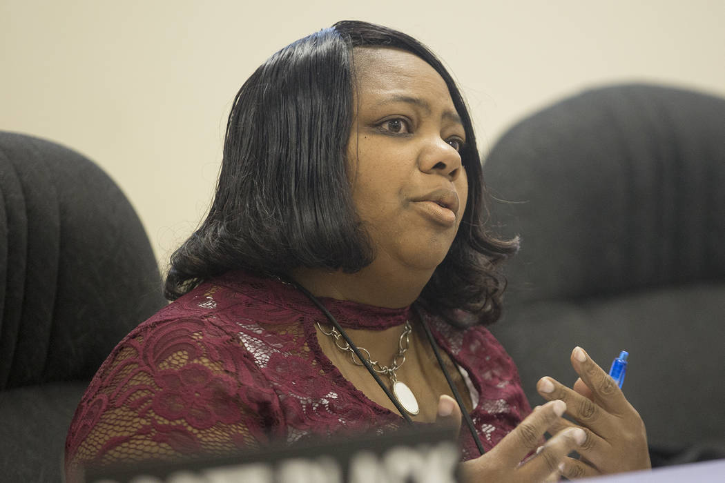 Commissioner Cheryl Davis speaks at the Southern Nevada Regional Housing Authority board meeting at the commission chambers in Las Vegas, Thursday, May 17, 2018. Chad Williams was approved as the ...